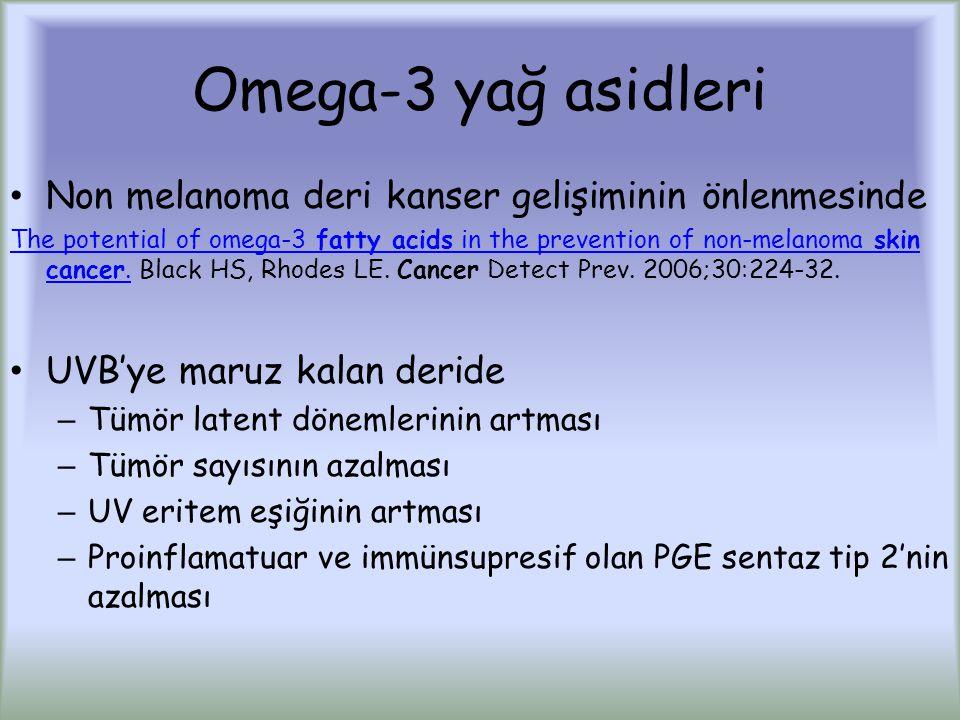 Omega-3 yağ asidleri Non melanoma deri kanser gelişiminin önlenmesinde The potential of omega-3 fatty acids in the prevention of non-melanoma skin cancer.The potential of omega-3 fatty acids in the prevention of non-melanoma skin cancer.