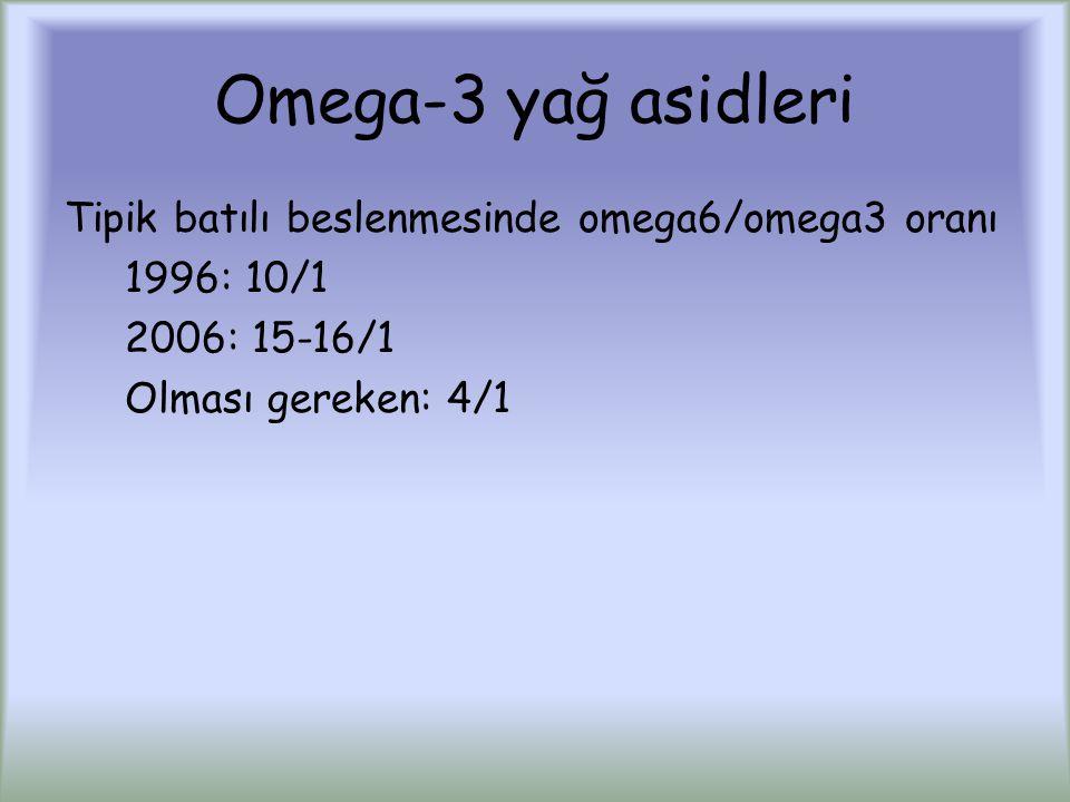 Omega-3 yağ asidleri Tipik batılı beslenmesinde omega6/omega3 oranı 1996: 10/1 2006: 15-16/1 Olması gereken: 4/1