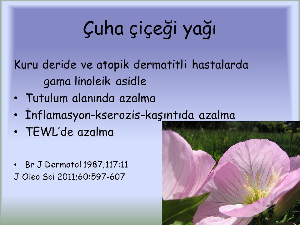 Çuha çiçeği yağı Kuru deride ve atopik dermatitli hastalarda gama linoleik asidle Tutulum alanında azalma İnflamasyon-kserozis-kaşıntıda azalma TEWL'de azalma Br J Dermatol 1987;117:11 J Oleo Sci 2011;60:597-607