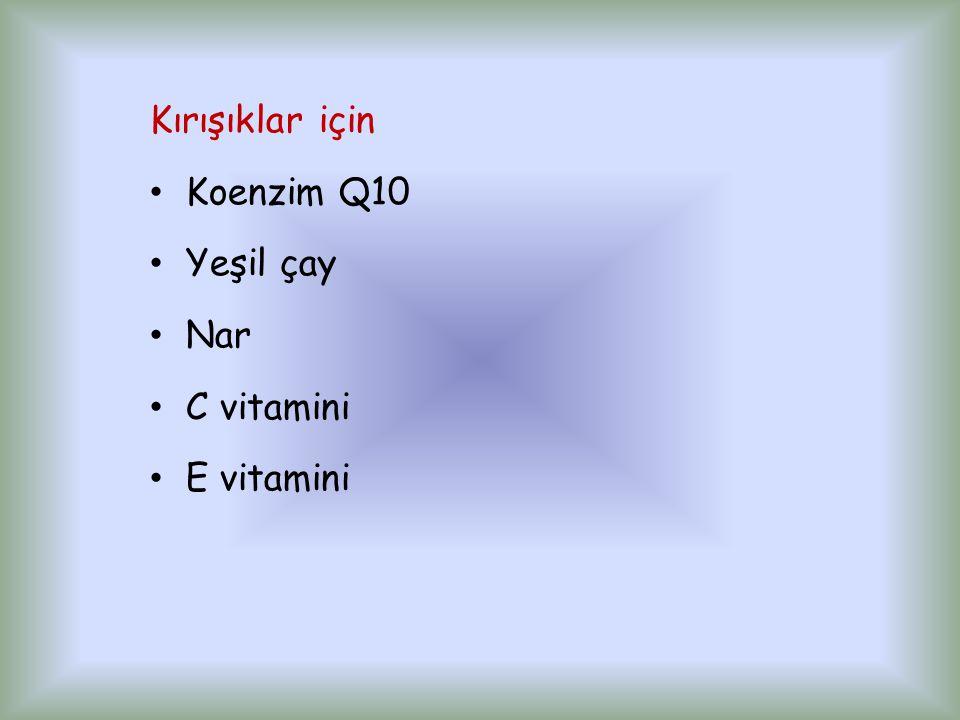 Kırışıklar için Koenzim Q10 Yeşil çay Nar C vitamini E vitamini
