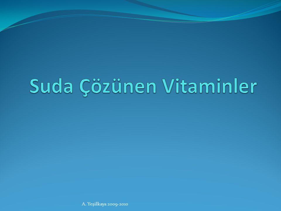 Suda Çözünen Vitaminler Özellikleri Polar moleküllerdir ve suda çözünürler.