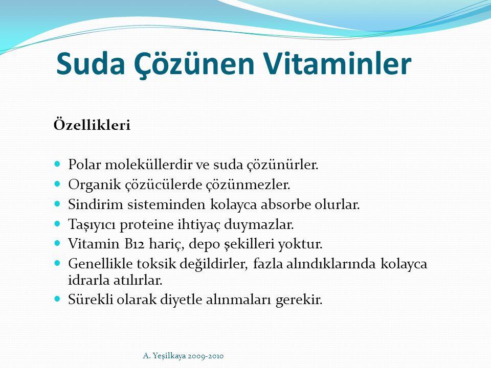 Suda Çözünen Vitaminler Özellikleri Polar moleküllerdir ve suda çözünürler. Organik çözücülerde çözünmezler. Sindirim sisteminden kolayca absorbe olur
