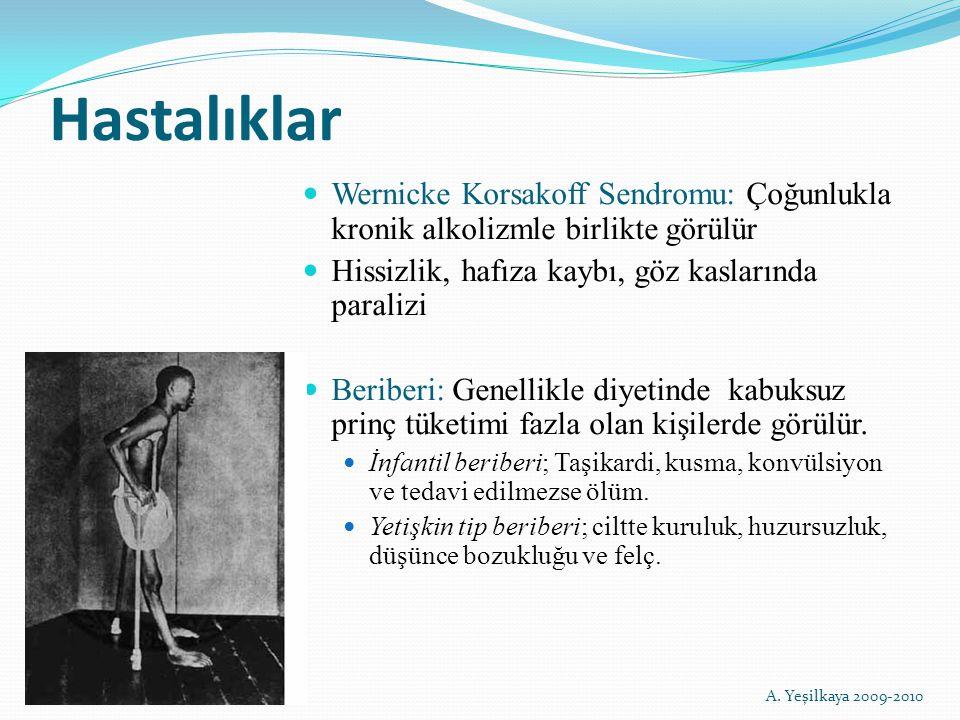 Hastalıklar Wernicke Korsakoff Sendromu: Çoğunlukla kronik alkolizmle birlikte görülür Hissizlik, hafıza kaybı, göz kaslarında paralizi Beriberi: Gene