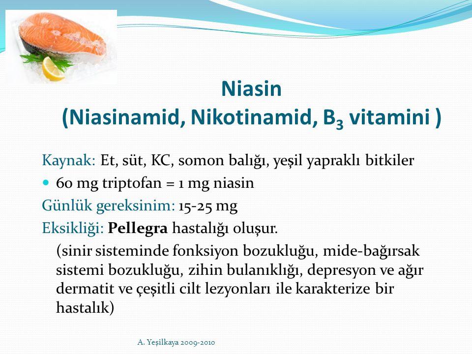 Niasin (Niasinamid, Nikotinamid, B 3 vitamini ) Kaynak: Et, süt, KC, somon balığı, yeşil yapraklı bitkiler 60 mg triptofan = 1 mg niasin Günlük gereks