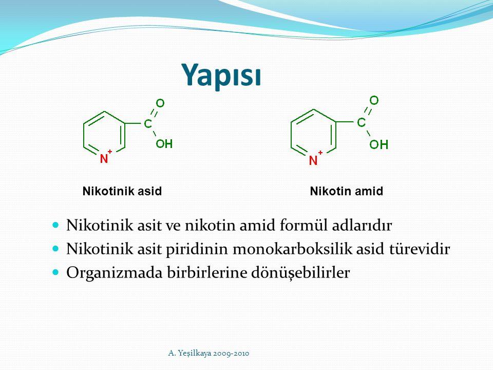 Yapısı Nikotinik asit ve nikotin amid formül adlarıdır Nikotinik asit piridinin monokarboksilik asid türevidir Organizmada birbirlerine dönüşebilirler