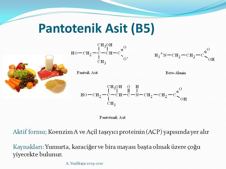 Pantotenik Asit (B5) Aktif formu; Koenzim A ve Açil taşıyıcı proteinin (ACP) yapısında yer alır Kaynakları: Yumurta, karaciğer ve bira mayası başta ol