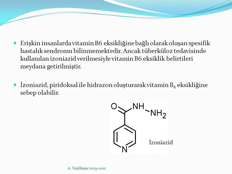 Erişkin insanlarda vitamin B6 eksikliğine bağlı olarak oluşan spesifik hastalık sendromu bilinmemektedir. Ancak tüberküloz tedavisinde kullanılan izon