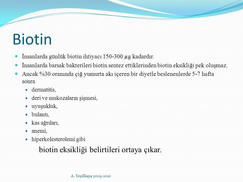 Biotin İnsanlarda günlük biotin ihtiyacı 150-300  g kadardır. İnsanlarda barsak bakterileri biotin sentez ettiklerinden biotin eksikliği pek oluşmaz.