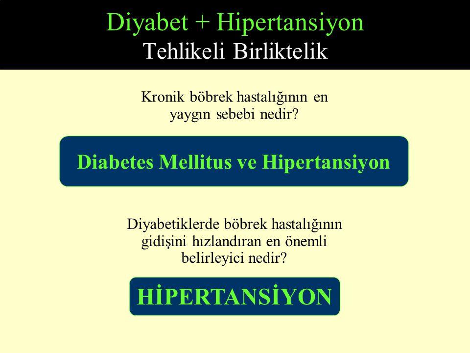 Diyabet + Hipertansiyon Tehlikeli Birliktelik Diabetes Mellitus ve Hipertansiyon Kronik böbrek hastalığının en yaygın sebebi nedir? Diyabetiklerde böb