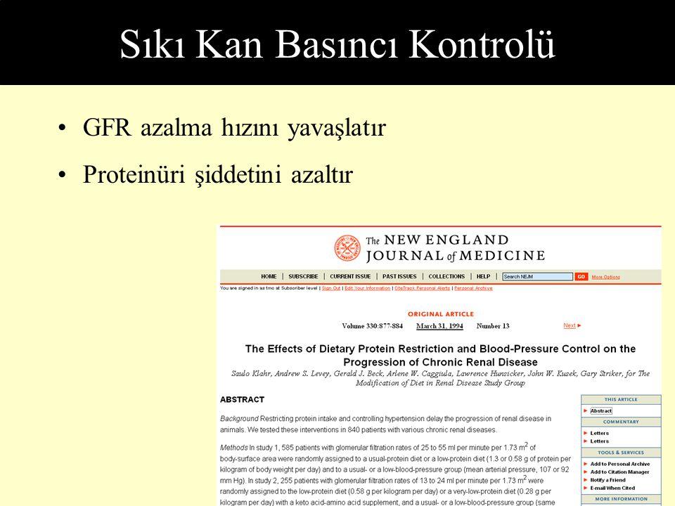 Sıkı Kan Basıncı Kontrolü GFR azalma hızını yavaşlatır Proteinüri şiddetini azaltır
