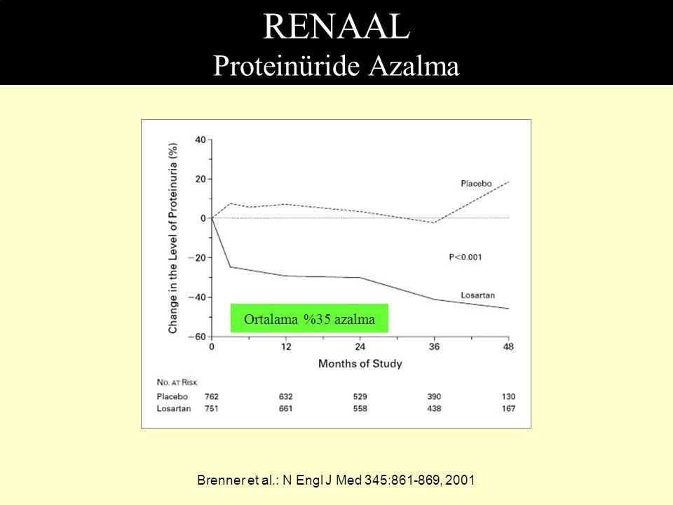 RENAAL Proteinüride Azalma Brenner et al.: N Engl J Med 345:861-869, 2001 Ortalama %35 azalma