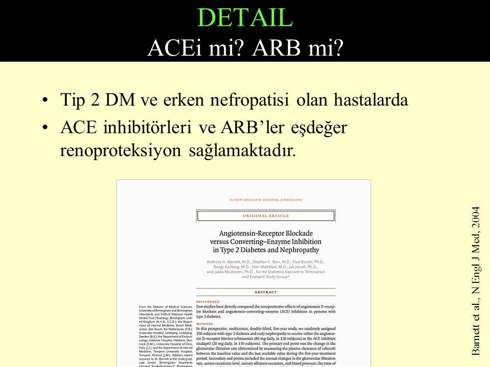 DETAIL ACEi mi? ARB mi? Tip 2 DM ve erken nefropatisi olan hastalarda ACE inhibitörleri ve ARB'ler eşdeğer renoproteksiyon sağlamaktadır. Barnett et a