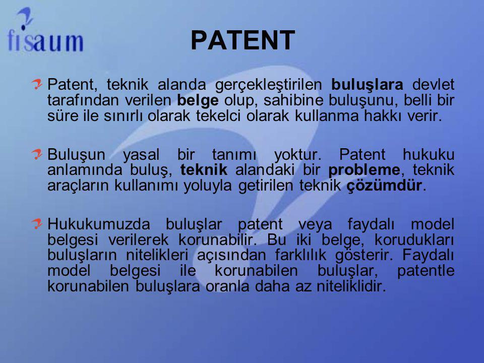 Patent, teknik alanda gerçekleştirilen buluşlara devlet tarafından verilen belge olup, sahibine buluşunu, belli bir süre ile sınırlı olarak tekelci ol