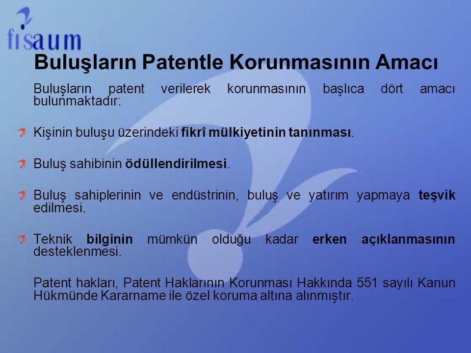 Buluşların Patentle Korunmasının Amacı Buluşların patent verilerek korunmasının başlıca dört amacı bulunmaktadır: Kişinin buluşu üzerindeki fikrî mülk