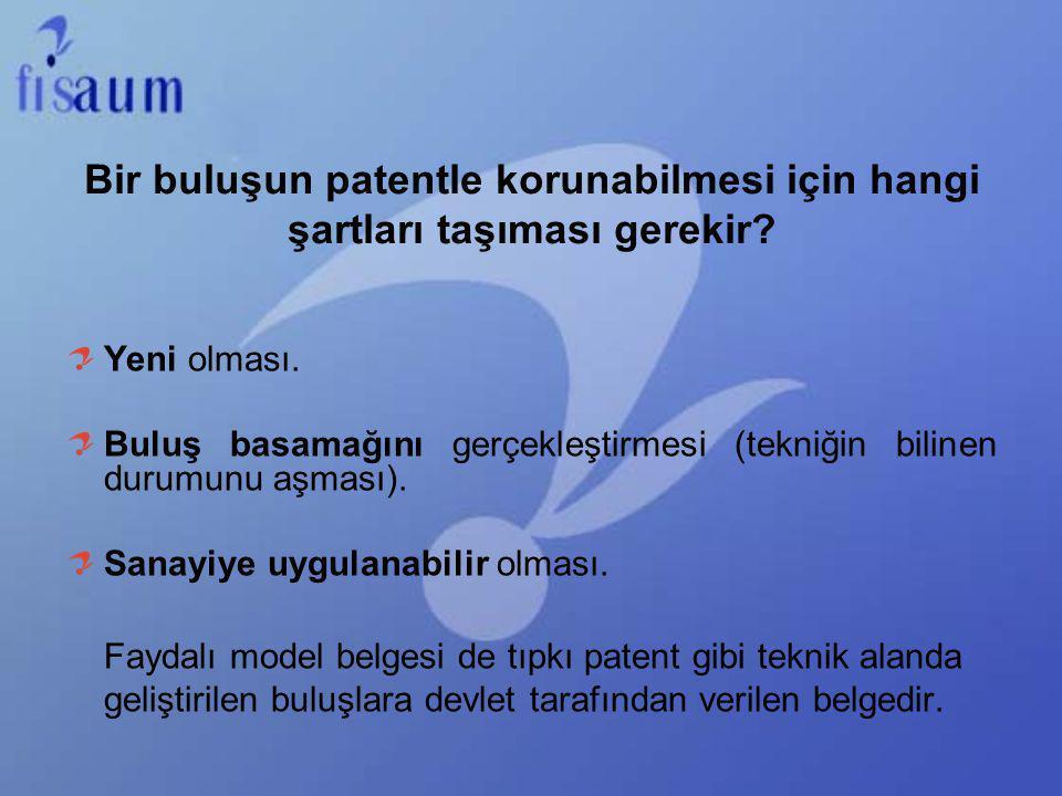 Bir buluşun patentle korunabilmesi için hangi şartları taşıması gerekir? Yeni olması. Buluş basamağını gerçekleştirmesi (tekniğin bilinen durumunu aşm