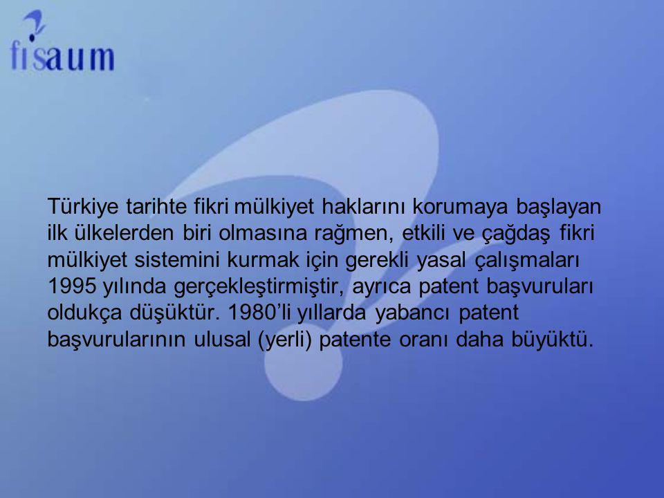 Türkiye tarihte fikri mülkiyet haklarını korumaya başlayan ilk ülkelerden biri olmasına rağmen, etkili ve çağdaş fikri mülkiyet sistemini kurmak için