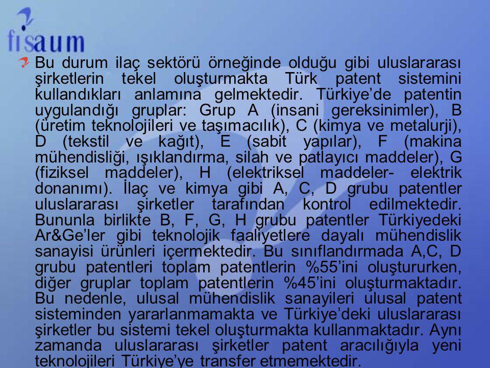 Bu durum ilaç sektörü örneğinde olduğu gibi uluslararası şirketlerin tekel oluşturmakta Türk patent sistemini kullandıkları anlamına gelmektedir. Türk