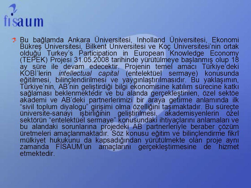 Bu bağlamda Ankara Üniversitesi, Inholland Üniversitesi, Ekonomi Bükreş Üniversitesi, Bilkent Üniversitesi ve Koç Üniversitesi'nin ortak olduğu Turkey