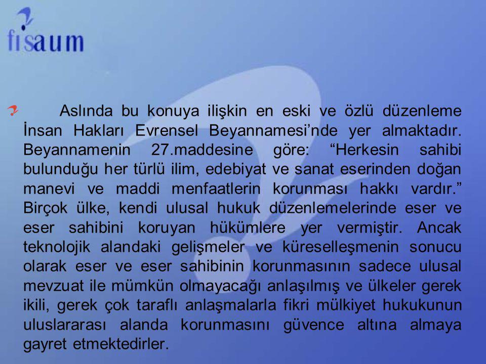 Türkiye tarihte fikri mülkiyet haklarını korumaya başlayan ilk ülkelerden biri olmasına rağmen, etkili ve çağdaş fikri mülkiyet sistemini kurmak için gerekli yasal çalışmaları 1995 yılında gerçekleştirmiştir, ayrıca patent başvuruları oldukça düşüktür.