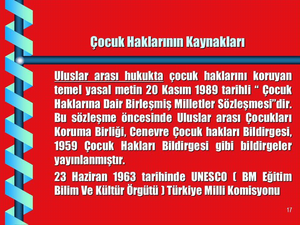 """17 Çocuk Haklarının Kaynakları Uluslar arası hukukta çocuk haklarını koruyan temel yasal metin 20 Kasım 1989 tarihli """" Çocuk Haklarına Dair Birleşmiş"""