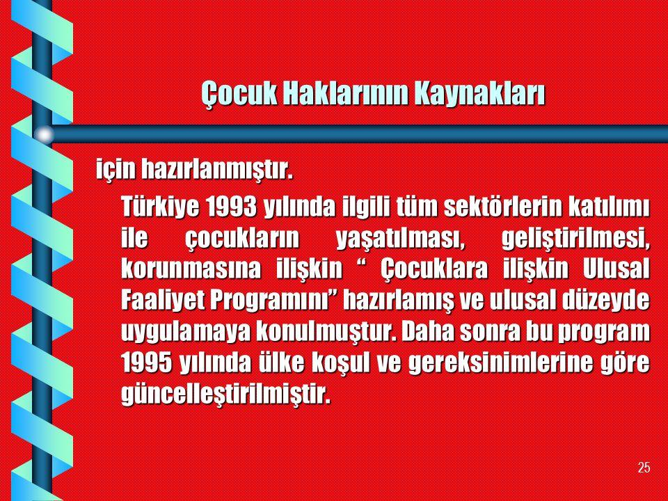 25 Çocuk Haklarının Kaynakları için hazırlanmıştır. Türkiye 1993 yılında ilgili tüm sektörlerin katılımı ile çocukların yaşatılması, geliştirilmesi, k
