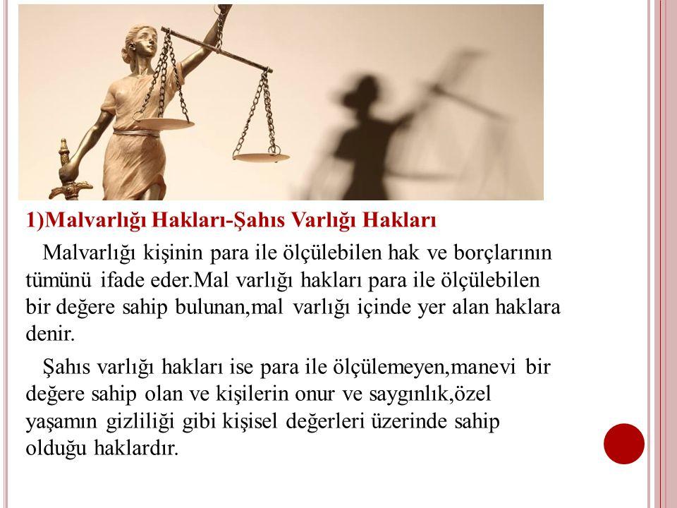 2)Mutlak Haklar-Nispi(Kişisel) Haklar Mutlak haklar,herkese karşı ileri sürülebilen belli bir zamanın geçmesiyle zamanaşımına uğramayan herkes tarafından ihlal edilmeleri olası bulunan haklardır.Mülkiyet hakkı,rehin hakkı,kişilik hakkı bu grup içinde yer alır.Bu grup içinde yer alan ve eşya üzerinde söz konusu olan mutlak haklar,AYNİ HAK olarak nitelendirilir.