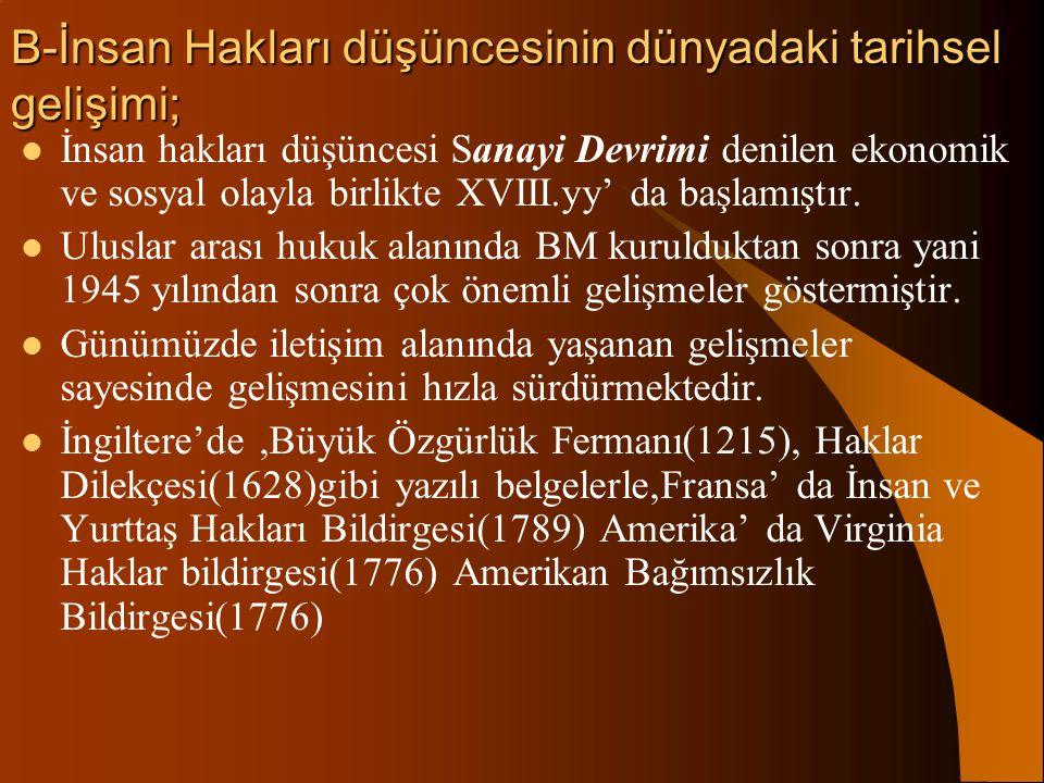 a)İnsan haklarının özellikleri; 1. K İŞİSELLİK (BİREYSELLİK) 2. E VRENSELLİK 3. D OKUNULMAZLIK 4. V AZGEÇİLMEZLİK 5. D EVREDİLMEZLİK