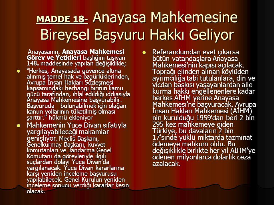 MADDE 18- Anayasa Mahkemesine Bireysel Başvuru Hakkı Geliyor Anayasanın, Anayasa Mahkemesi Görev ve Yetkileri başlığını taşıyan 148.
