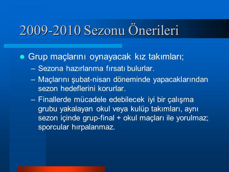 2009-2010 Sezonu Önerileri Grup maçlarını oynayacak kız takımları; –Sezona hazırlanma fırsatı bulurlar. –Maçlarını şubat-nisan döneminde yapacaklarınd