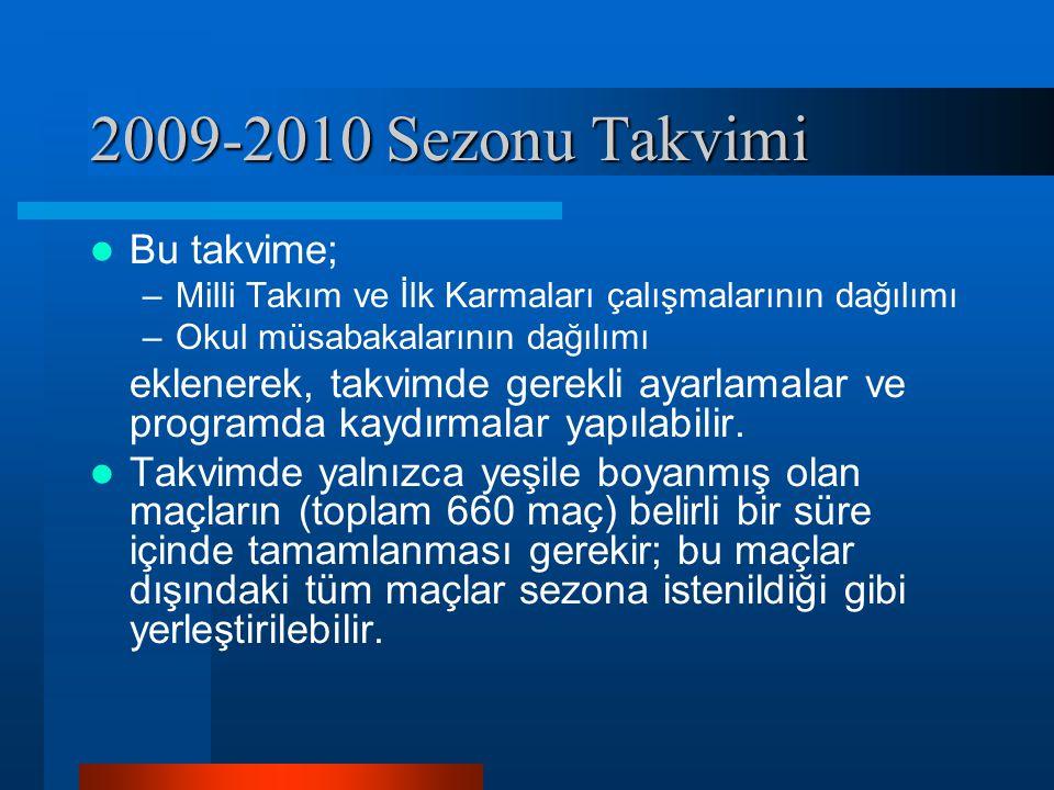 2009-2010 Sezonu Takvimi Bu takvime; –Milli Takım ve İlk Karmaları çalışmalarının dağılımı –Okul müsabakalarının dağılımı eklenerek, takvimde gerekli