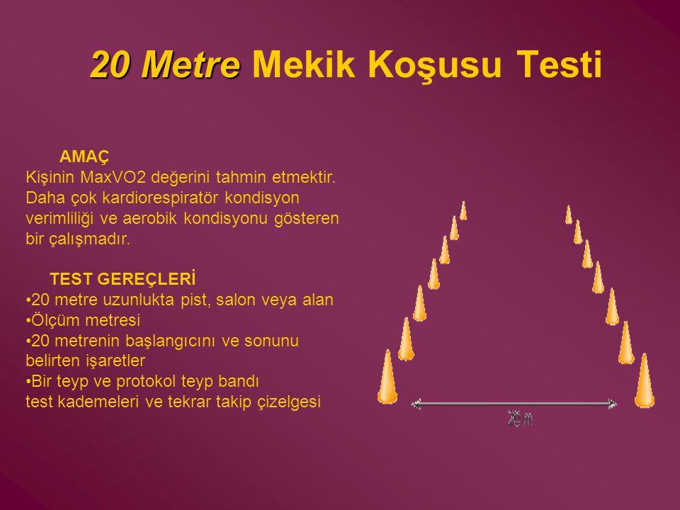 20 Metre 20 Metre Mekik Koşusu Testi AMAÇ Kişinin MaxVO2 değerini tahmin etmektir. Daha çok kardiorespiratör kondisyon verimliliği ve aerobik kondisyo