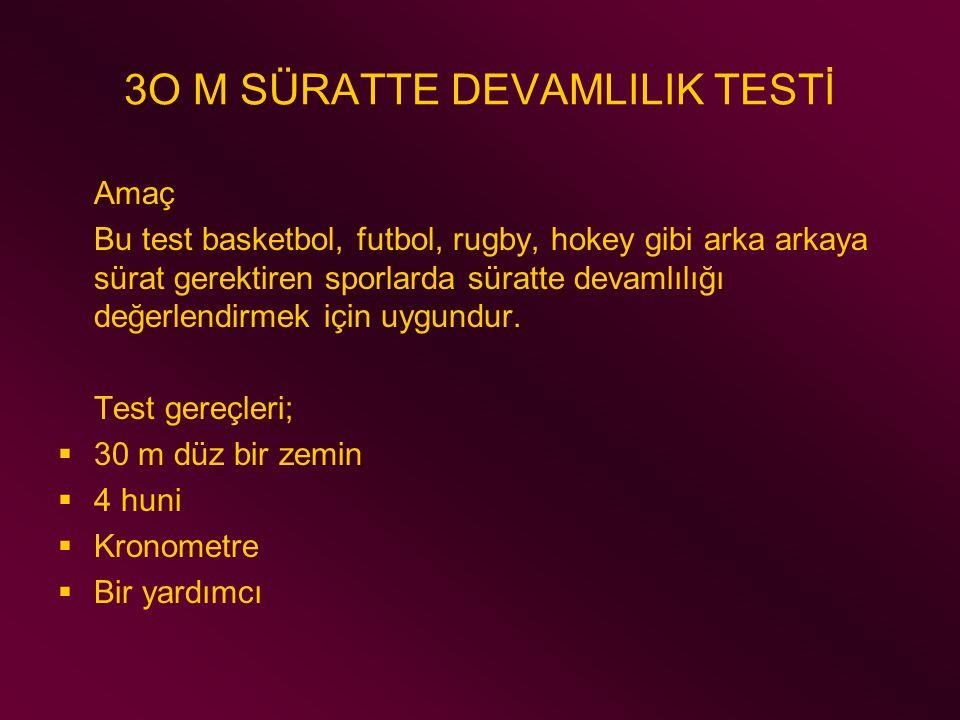 3O M SÜRATTE DEVAMLILIK TESTİ Amaç Bu test basketbol, futbol, rugby, hokey gibi arka arkaya sürat gerektiren sporlarda süratte devamlılığı değerlendir