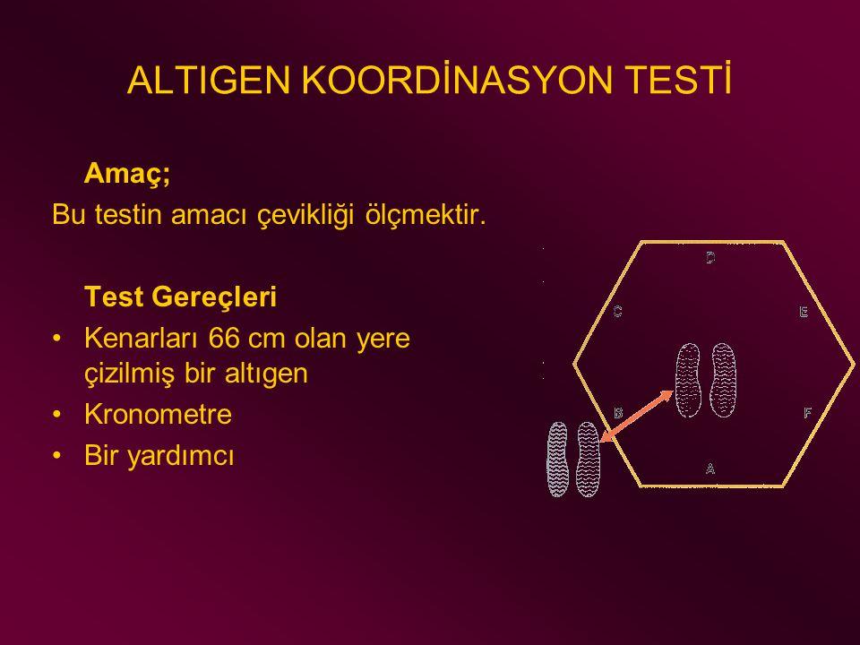 ALTIGEN KOORDİNASYON TESTİ Amaç; Bu testin amacı çevikliği ölçmektir. Test Gereçleri Kenarları 66 cm olan yere çizilmiş bir altıgen Kronometre Bir yar