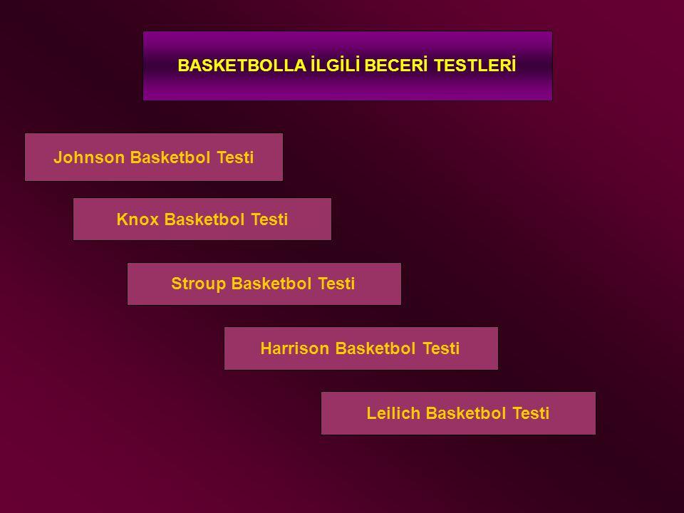BASKETBOLLA İLGİLİ BECERİ TESTLERİ Johnson Basketbol Testi Knox Basketbol Testi Stroup Basketbol Testi Harrison Basketbol Testi Leilich Basketbol Test