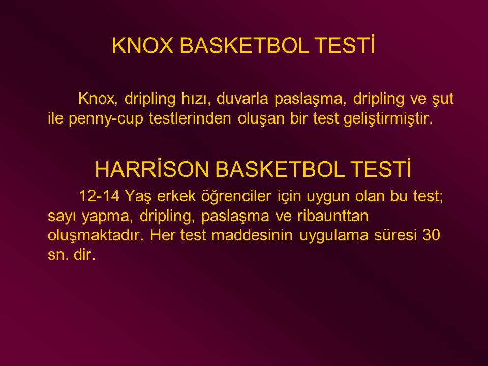 KNOX BASKETBOL TESTİ Knox, dripling hızı, duvarla paslaşma, dripling ve şut ile penny-cup testlerinden oluşan bir test geliştirmiştir. HARRİSON BASKET