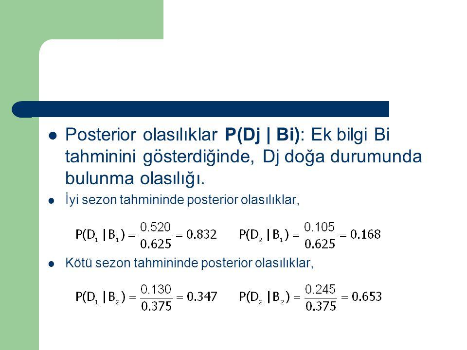 Posterior olasılıklar P(Dj | Bi): Ek bilgi Bi tahminini gösterdiğinde, Dj doğa durumunda bulunma olasılığı. İyi sezon tahmininde posterior olasılıklar