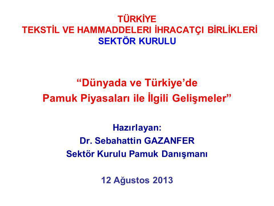 """TÜRKİYE TEKSTİL VE HAMMADDELERI İHRACATÇI BİRLİKLERİ SEKTÖR KURULU """"Dünyada ve Türkiye'de Pamuk Piyasaları ile İlgili Gelişmeler"""" Hazırlayan: Dr. Seba"""