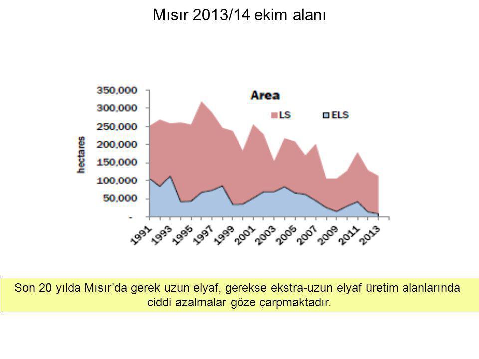 Mısır 2013/14 ekim alanı Son 20 yılda Mısır'da gerek uzun elyaf, gerekse ekstra-uzun elyaf üretim alanlarında ciddi azalmalar göze çarpmaktadır.