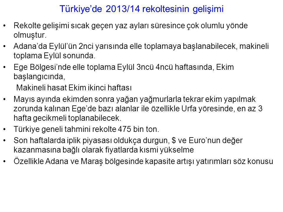 Türkiye'de 2013/14 rekoltesinin gelişimi Rekolte gelişimi sıcak geçen yaz ayları süresince çok olumlu yönde olmuştur. Adana'da Eylül'ün 2nci yarısında