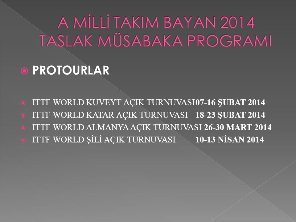  PROTOURLAR  ITTF WORLD KUVEYT AÇIK TURNUVASI07-16 ŞUBAT 2014  ITTF WORLD KATAR AÇIK TURNUVASI18-23 ŞUBAT 2014  ITTF WORLD ALMANYA AÇIK TURNUVASI