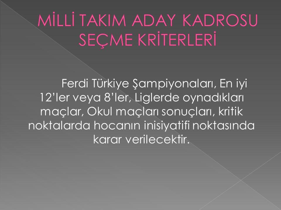  TEMEL EĞİTİM KAMPLARINA SEÇME KRİTERLERİ  1--Sezon içerisinde yapılan takım ferdi müsabakalarında dereceye giren sporcular  2--Sezon içerisinde yapılan grup müsabakalarında dereceye giren sporcular  3--Sezon içerisinde yapılan MEB Türkiye birinciliğinde dereceye giren takım sporcuları arasından  4- Teknik kurulun teklifi ve federasyon yönetim kurulu ve başkanın onayı ile gelecek vaad eden minik sporcular katılacaktır.
