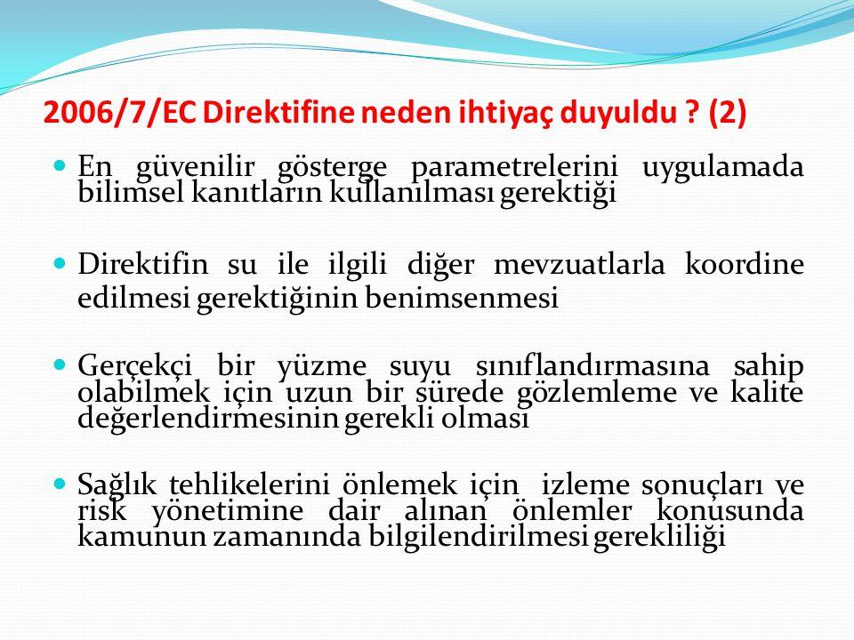 2006/7/EC Direktifine neden ihtiyaç duyuldu ? (2) En güvenilir gösterge parametrelerini uygulamada bilimsel kanıtların kullanılması gerektiği Direktif