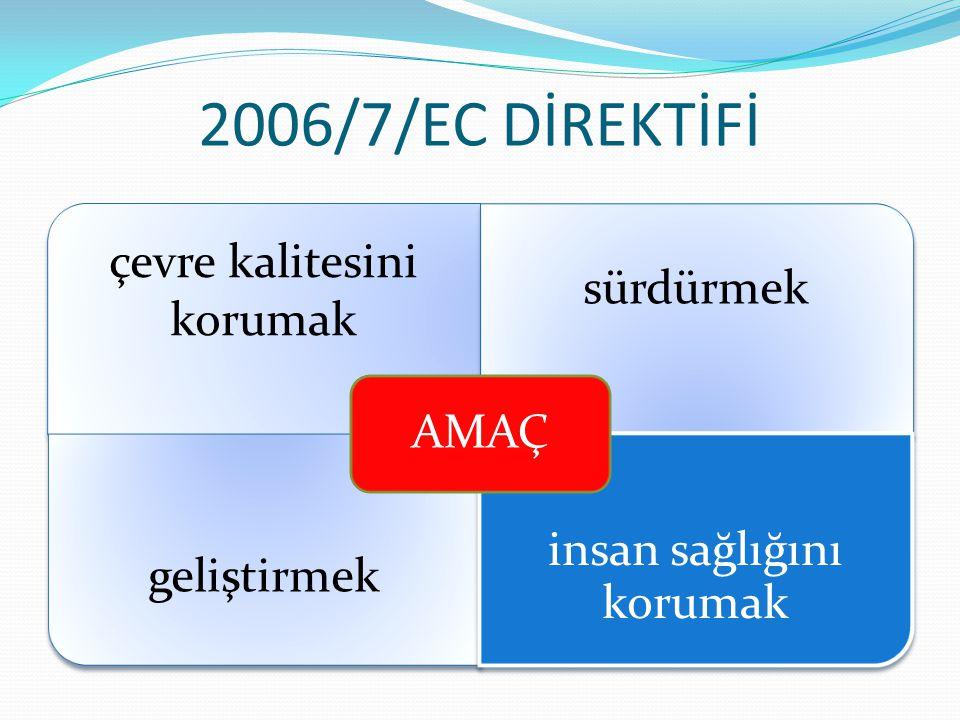 2006/7/EC DİREKTİFİ Ana Hükümler yüzme suyu kalitesinin izlenmesi ve sınıflandırılması yüzme suyu kalitesinin yönetilmesi kamuya yüzme suyu kalitesi ile ilgili bilgi sağlanması