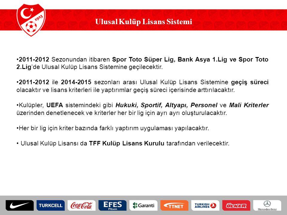 Ulusal Kulüp Lisans Sistemi 2011-2012 Sezonundan itibaren Spor Toto Süper Lig, Bank Asya 1.Lig ve Spor Toto 2.Lig'de Ulusal Kulüp Lisans Sistemine geçilecektir.