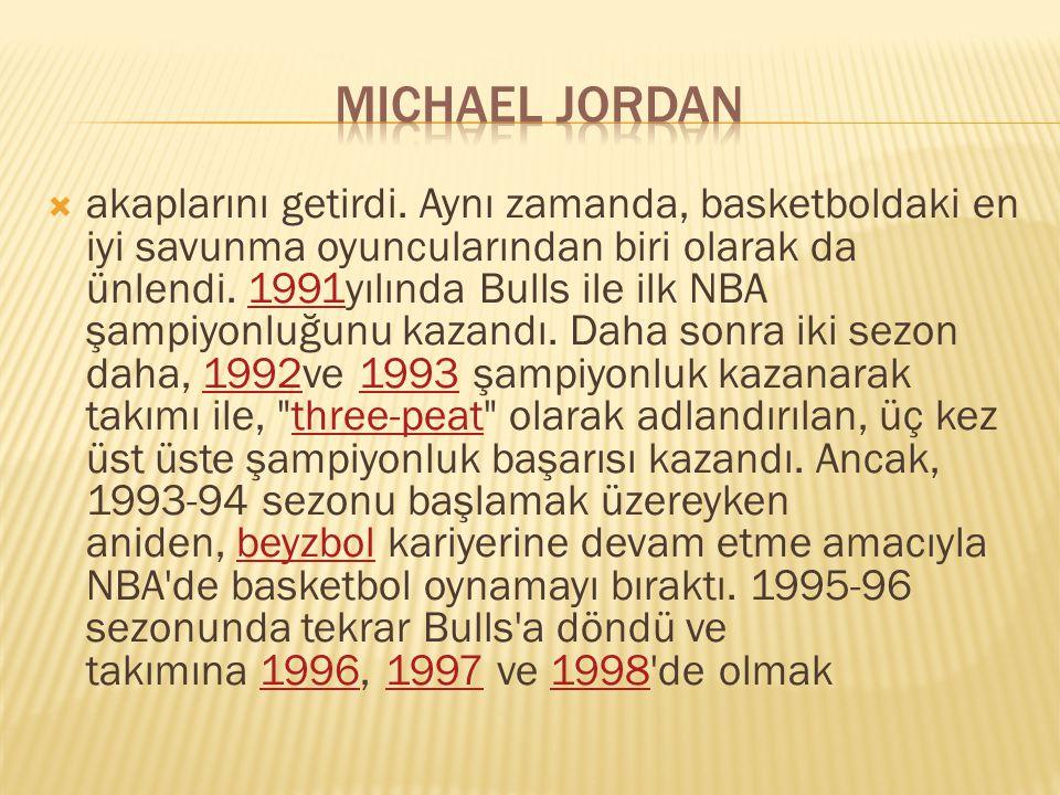  akaplarını getirdi. Aynı zamanda, basketboldaki en iyi savunma oyuncularından biri olarak da ünlendi. 1991yılında Bulls ile ilk NBA şampiyonluğunu k
