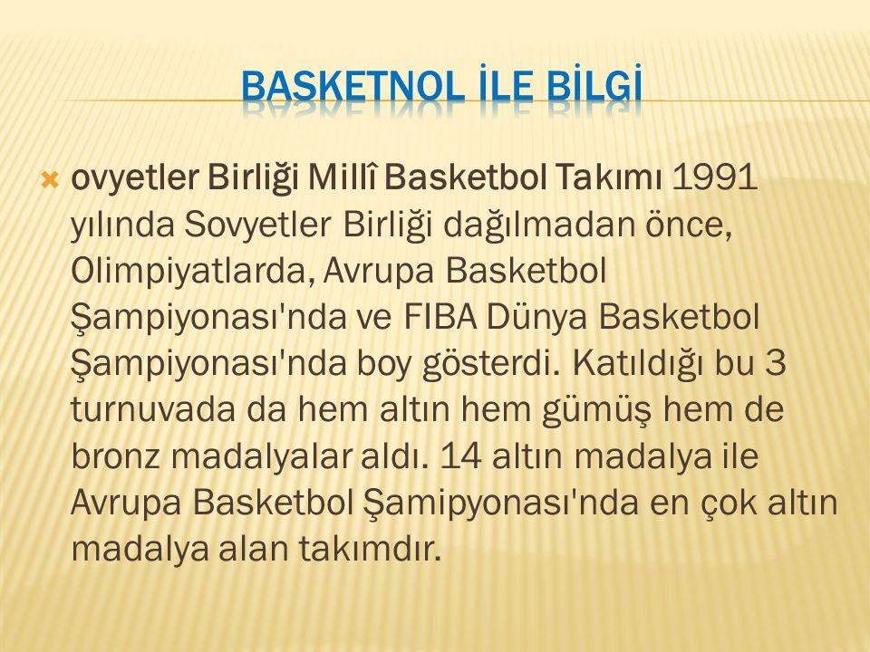 ovyetler Birliği Millî Basketbol Takımı 1991 yılında Sovyetler Birliği dağılmadan önce, Olimpiyatlarda, Avrupa Basketbol Şampiyonası'nda ve FIBA Dün