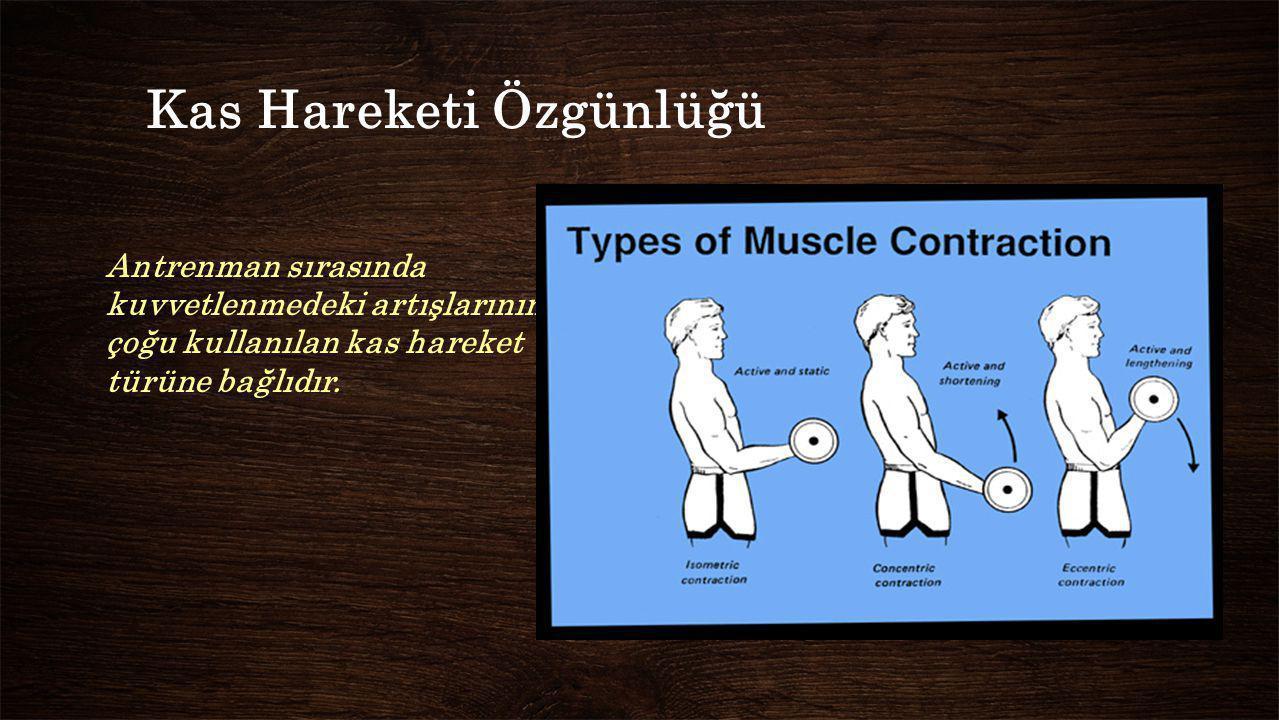 Kas Hareketi Özgünlüğü Antrenman sırasında kuvvetlenmedeki artışlarının çoğu kullanılan kas hareket türüne bağlıdır.