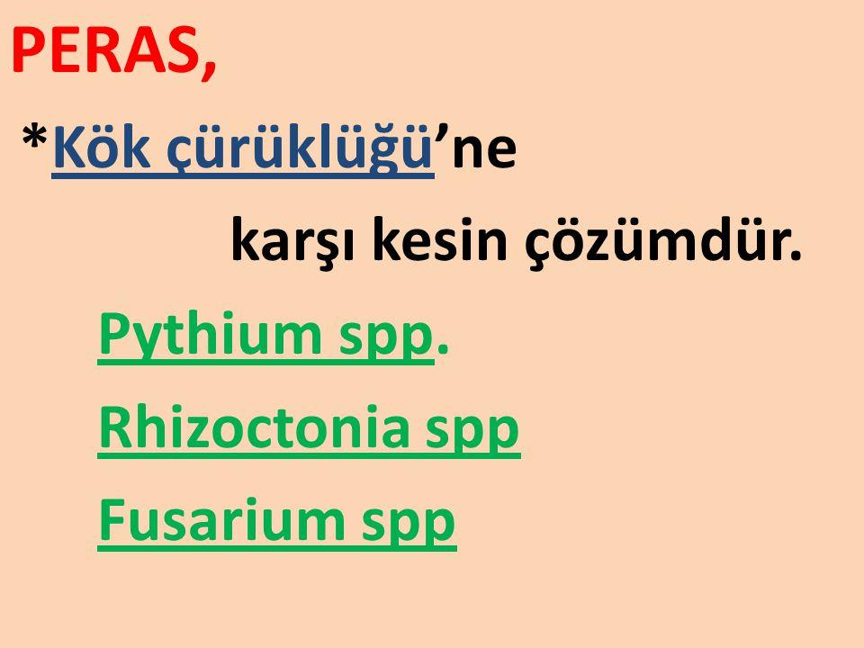 PERAS, *Kök çürüklüğü'ne karşı kesin çözümdür. Pythium spp. Rhizoctonia spp Fusarium spp