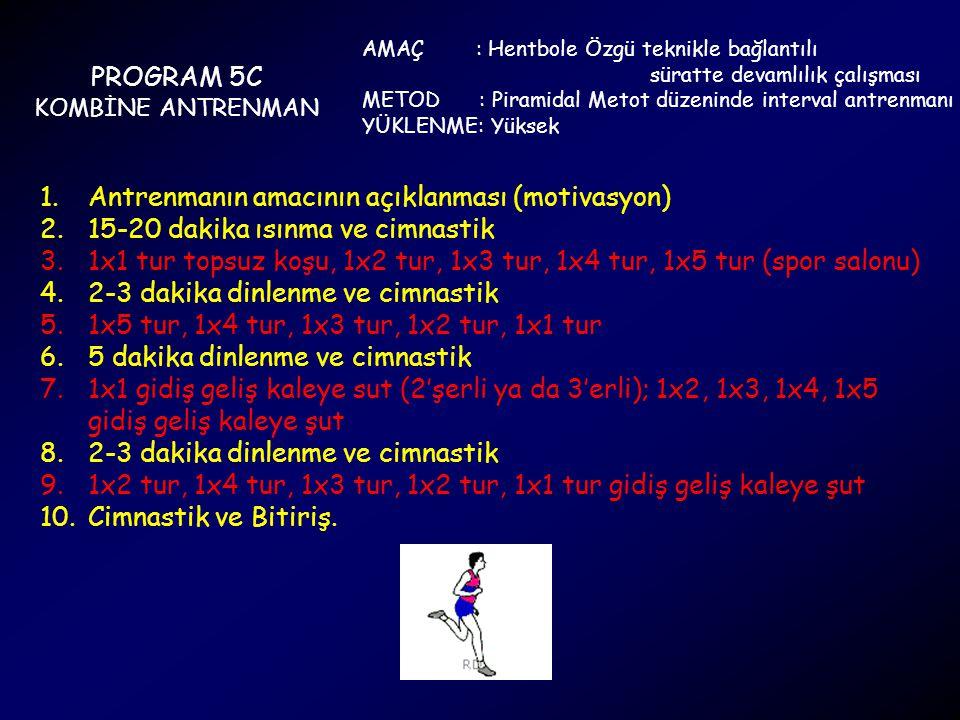 PROGRAM 5C KOMBİNE ANTRENMAN AMAÇ : Hentbole Özgü teknikle bağlantılı süratte devamlılık çalışması METOD : Piramidal Metot düzeninde interval antrenma