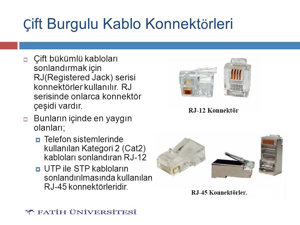  Çift bükümlü kabloları sonlandırmak için RJ(Registered Jack) serisi konnektörler kullanılır. RJ serisinde onlarca konnektör çeşidi vardır.  Bunları